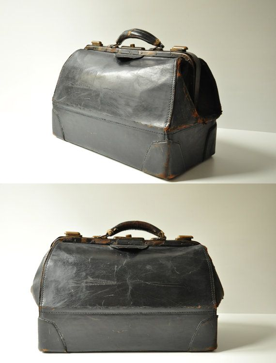 cf71c8fa5729 Antique Black Genuine Cowhide Doctor s Bag by thelittlebiker ...