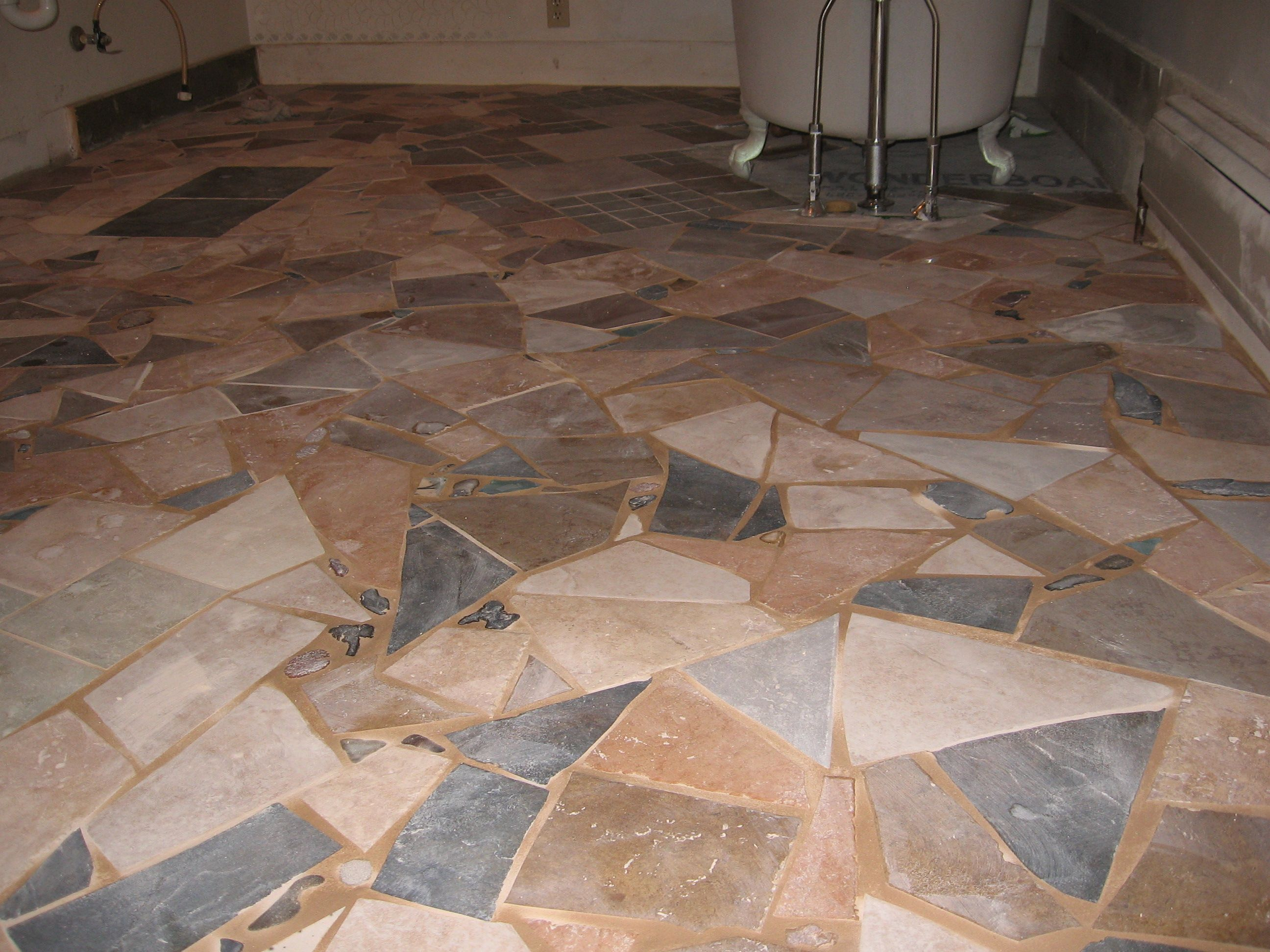 Rusticvermontweddings Upcycled Mismatched Tiles Make A Great Mosaic Floor We Re Did Our Bathroom Floor With Different Mosaic Flooring Flooring Carpet Tiles