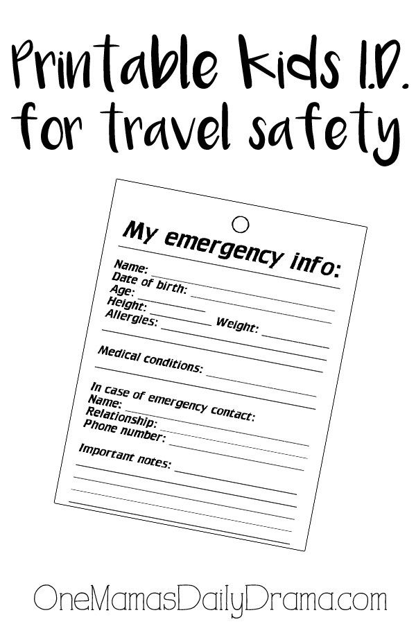 Printable Kids Identity Badge Printables Kids Emergency Contact Travel Safety