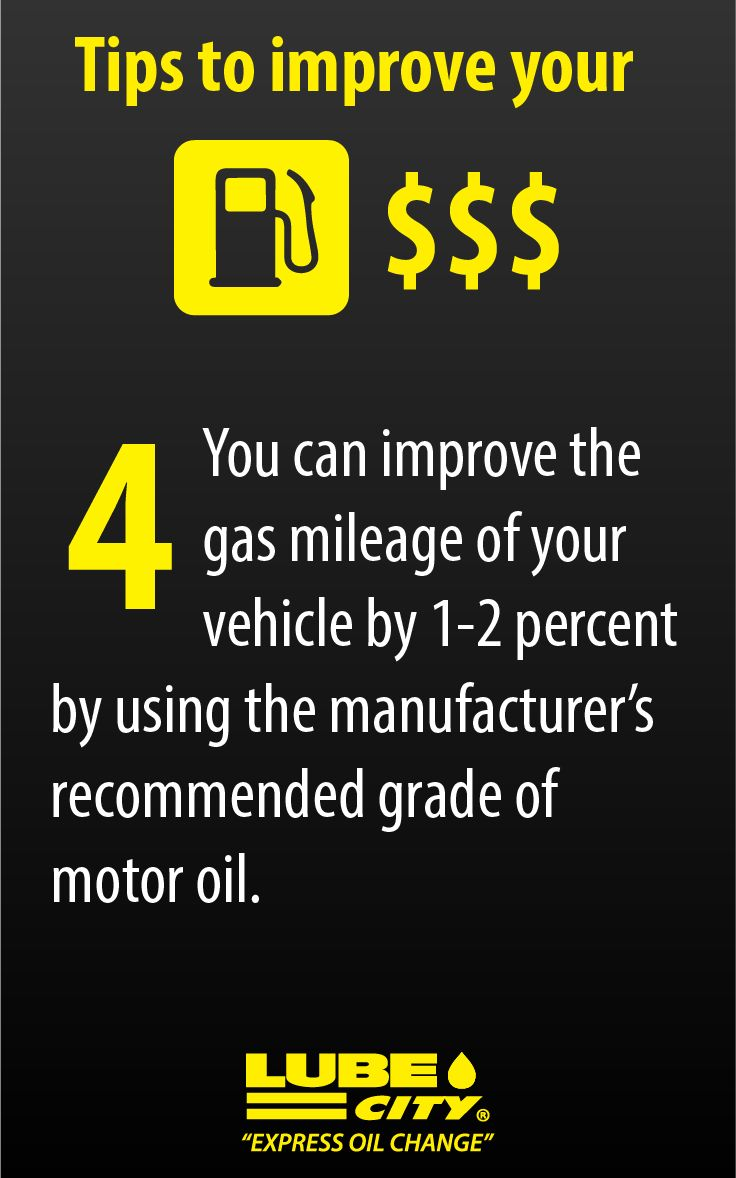 You can improve the gas mileage of your vehicle by 1-2 percent by using the manufacturer's recommended grade of motor oil. http://www.lubecity.ca/