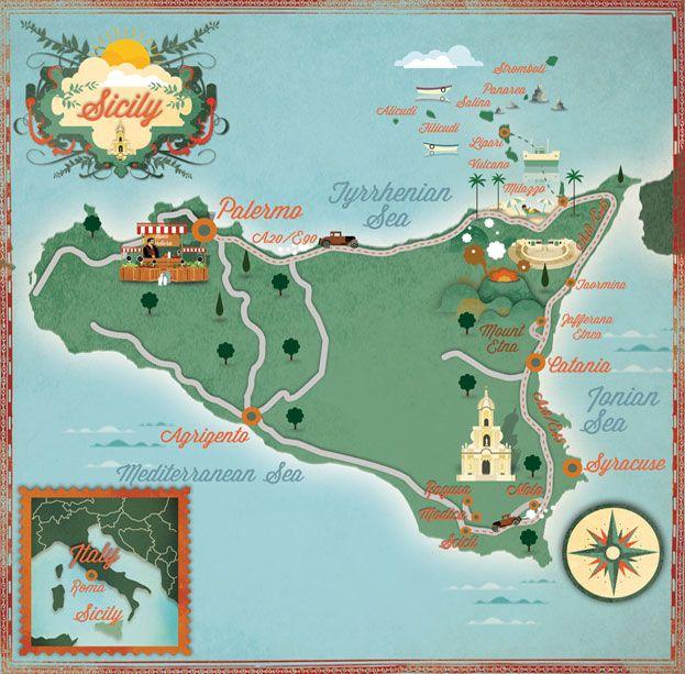 Sicily Map Alexandre Verhille Carte sicile, Sicile