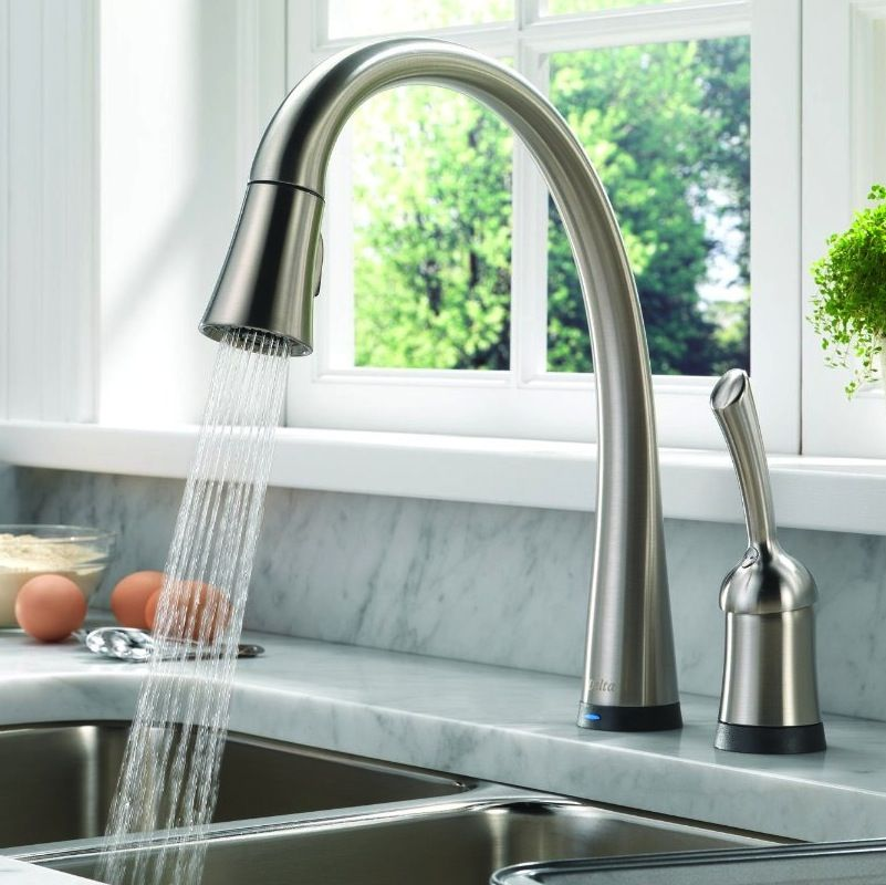 For My New Kitchen! Delta Faucetsu0027 Pilar Is An Easy To Operate Touch Faucet  That Does Away With The Often Hard To Operate Turn Knobs  Making This An  Ideal ...