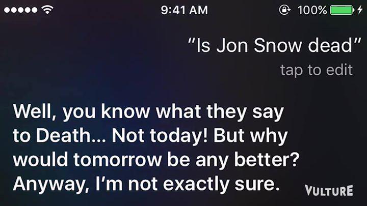 Siri has genius answers when you ask it about Game of Thrones #gameofthrones #gameofthronesseason6 #jonsnow #winteriscoming #winteriscomingonline