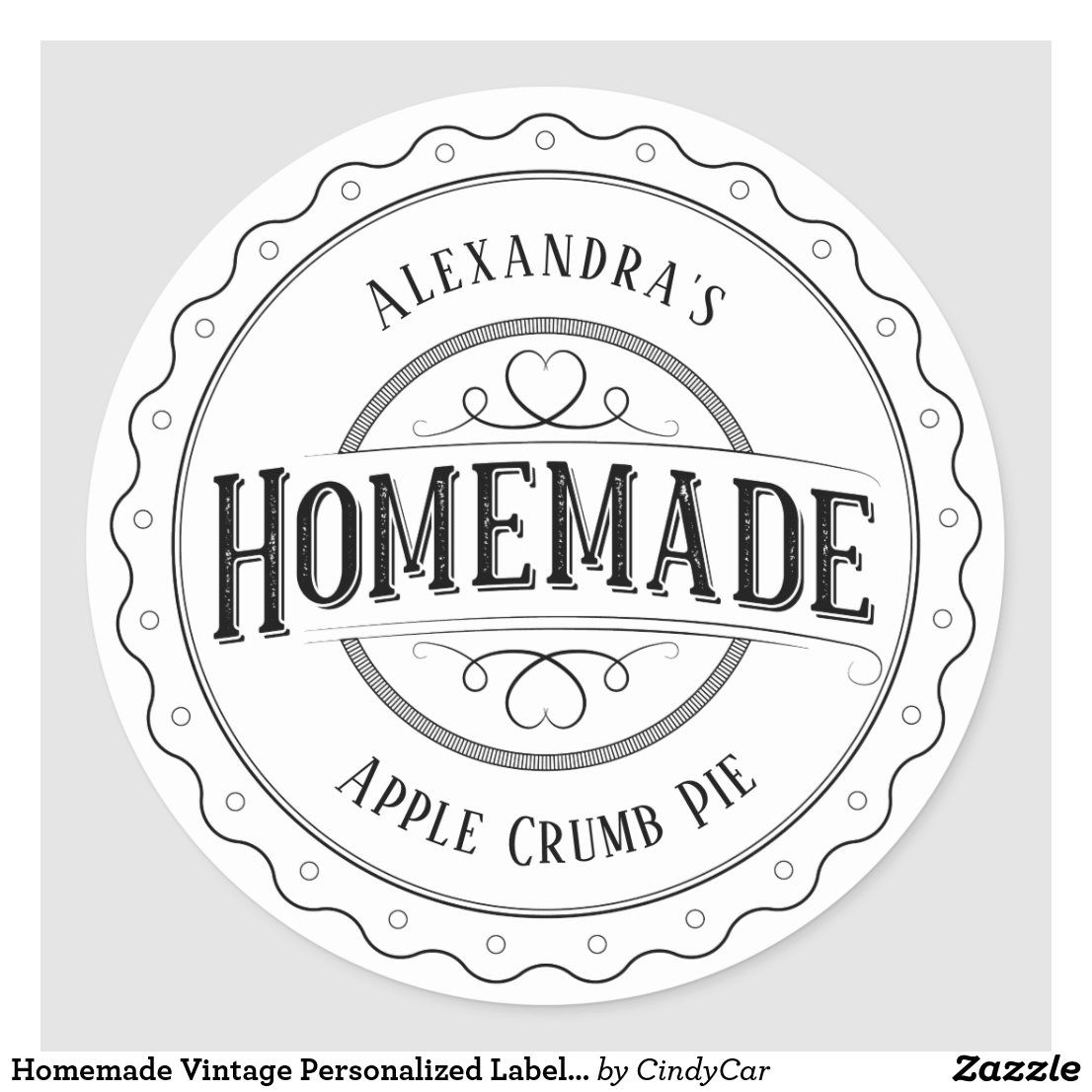 Homemade Vintage Personalized Label Stickers Zazzle Com In 2020 Personalized Stickers Labels Personalized Labels Sticker Labels