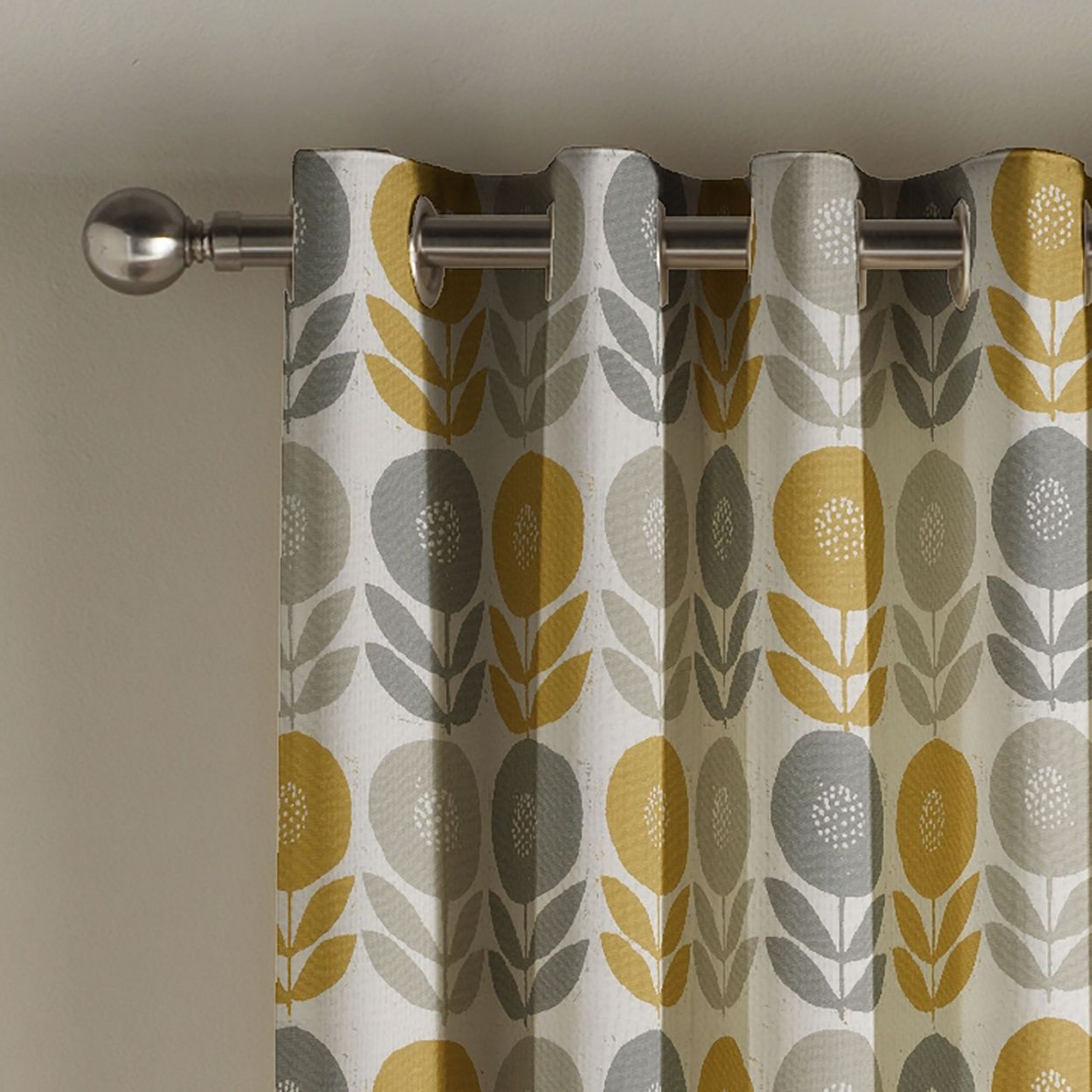 Captivating Mustard U0027Uppsalau0027 Lined Eyelet Curtains