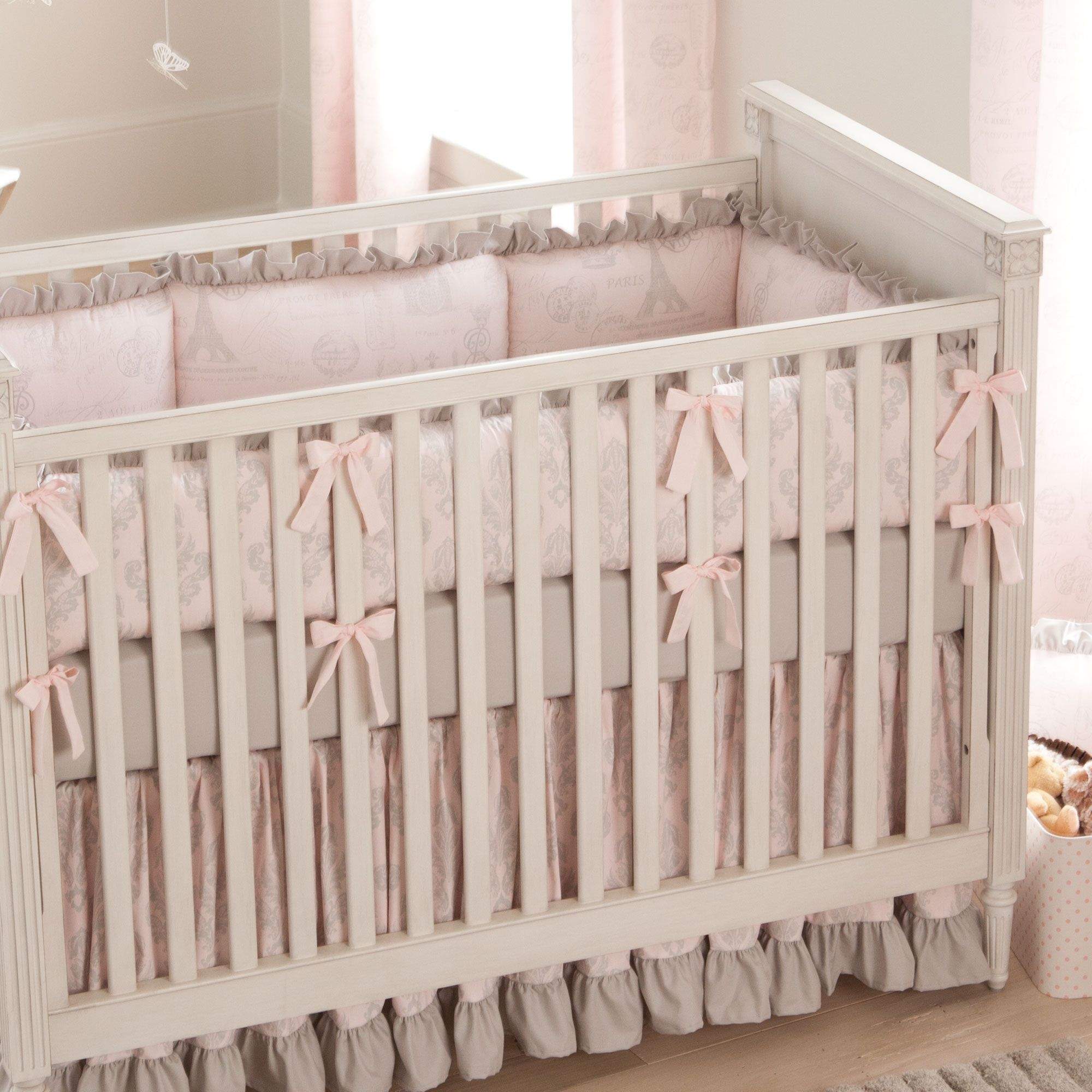 Crib bedding set gray white navy blue with by butterbeansboutique - Paris Script Crib Bedding Pink And Gray Baby Girl Crib Bedding Featuring French Damask