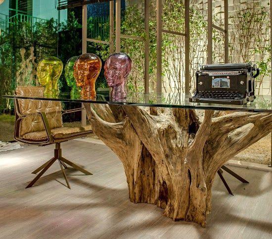 Pe de mesa de tronco e raizes pesquisa google casas do - Mesa de tronco ...