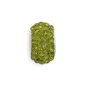 Olive Green Pave Crystal Bead