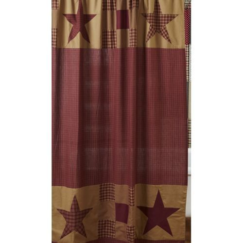 Ninepatch Star Shower Curtain Burgundy Red Tan Primitive Rustic Country Plaid