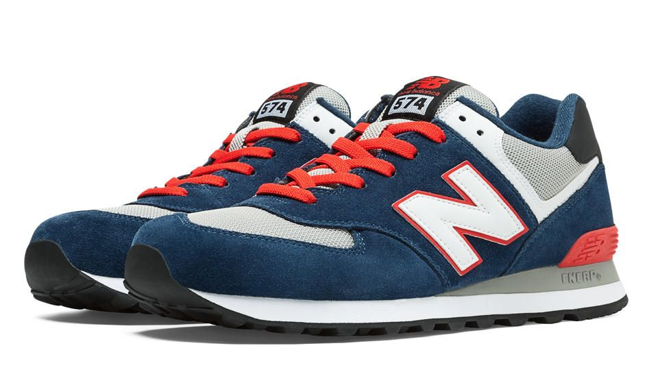 New Balance 574, Dark Blue with Race Red & Light Grey