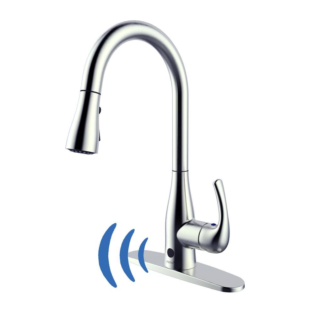 Flow Single Handle Pull Down Sprayer Kitchen Faucet With Motion