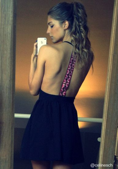 Sequins T-back Dress - Pretty Embroidered Sequins T-Strap Dress