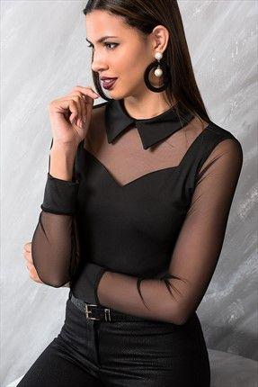 Siyah Kollari Tul Bluz Kadin Kadin Modasi Kadin Kiyafetleri