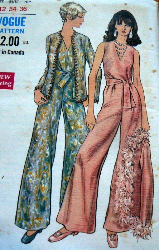 LOVELY VTG 1960s JUMPSUIT & JACKET VOGUE Sewing Pattern 14/34 ...