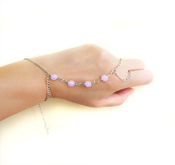Purple  Crystal Slave Bracelet Hand Bracelet by selenayselenay, $25.00
