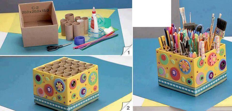 Caja Para Utiles Escolares Reciclar Cajas De Carton