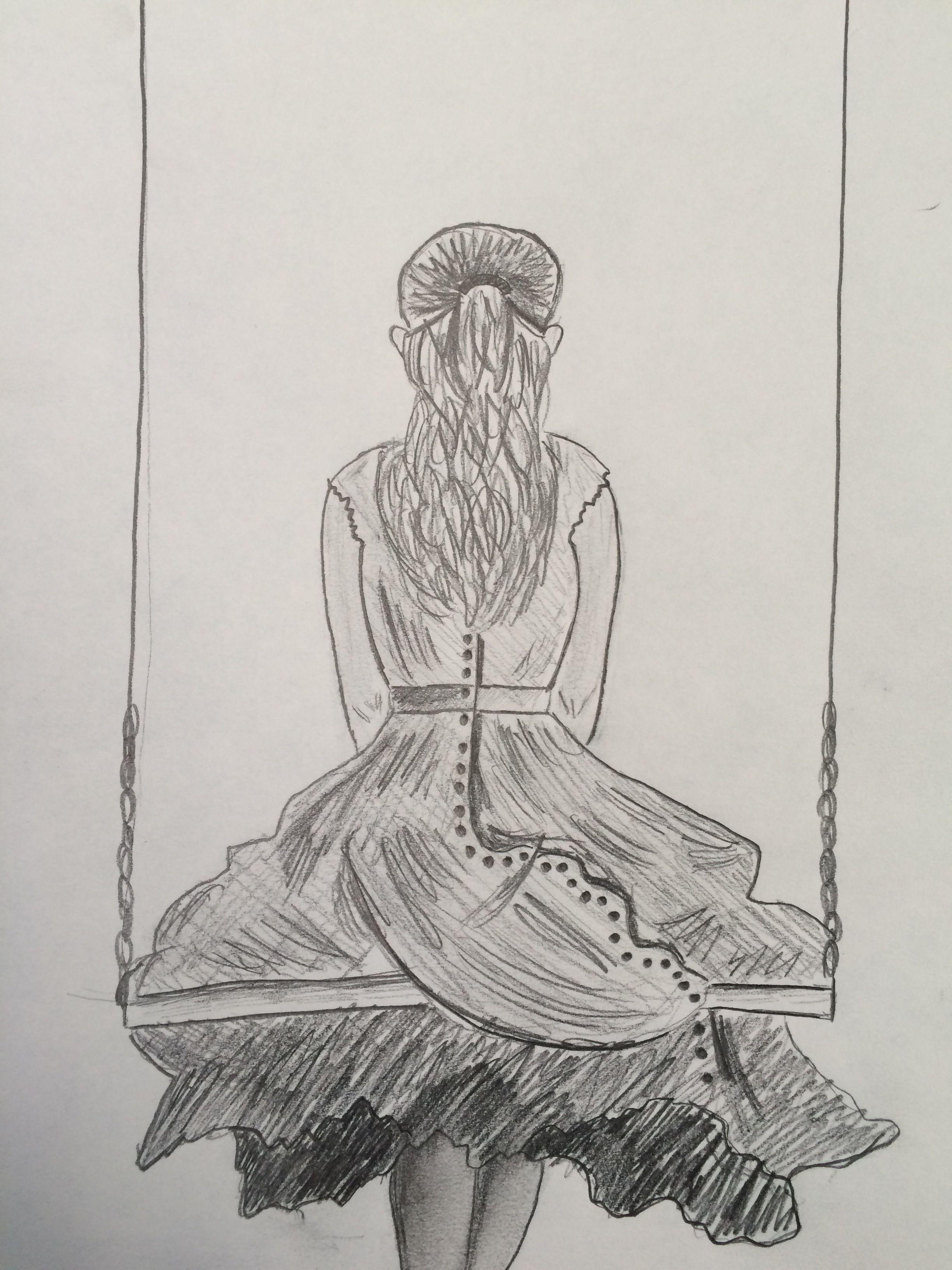 Girl on swing pencil drawing