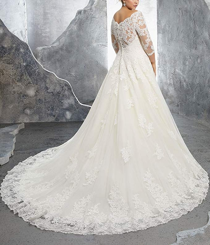 Womens Plus Size Bridal Ball Gown Vintage Lace Wedding Dresses For