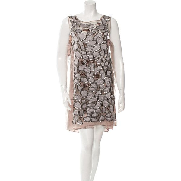 Just Cavalli Silk Embellished Sheath Dress w/ Tags (24530 RSD) ❤ liked on Polyvore featuring dresses, grey, sheer dress, beaded cocktail dress, sleeveless sheath dress, silk cocktail dress and sleeveless dress