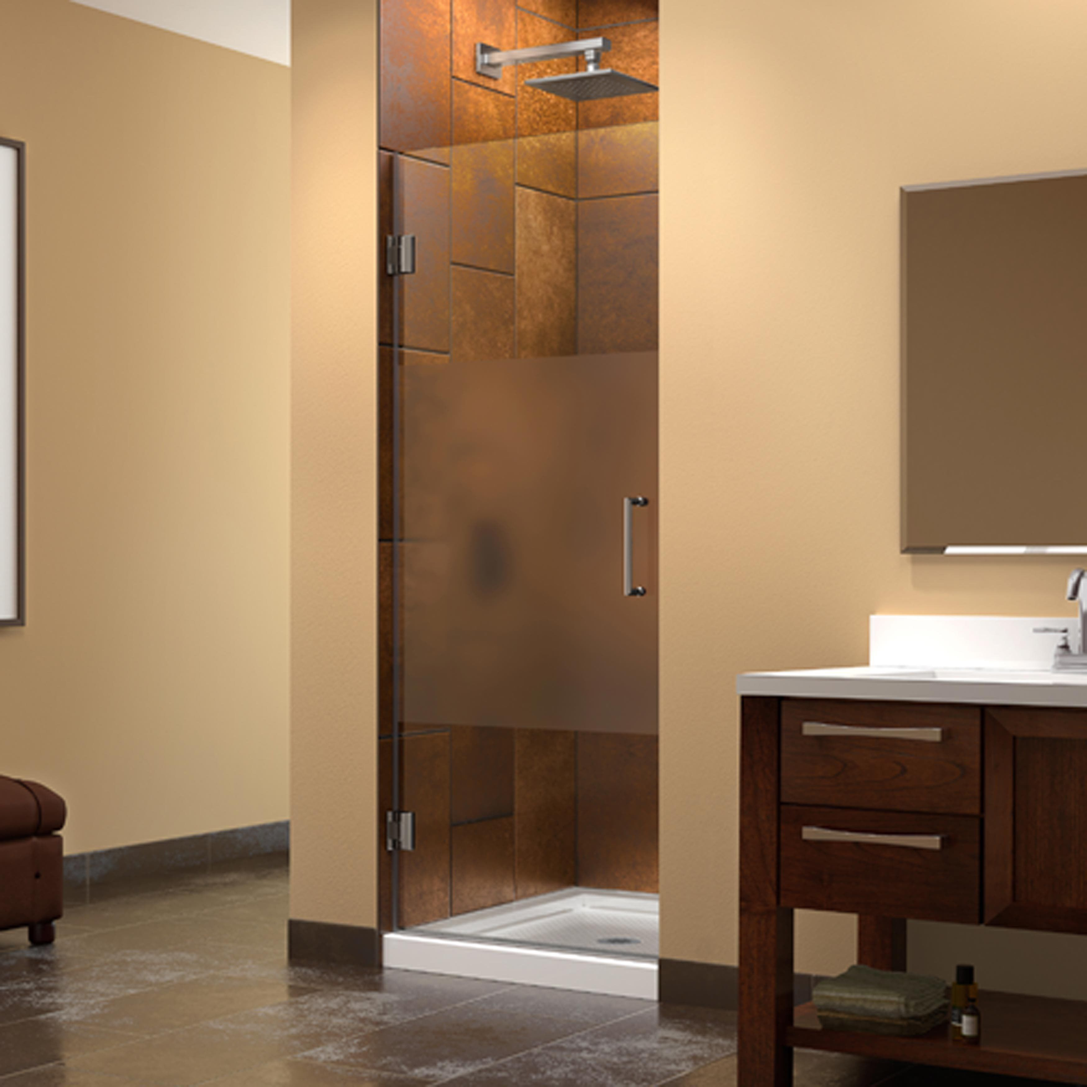 DreamLine Unidoor 30 in. W x 72 in. H Hinged Half Frosted Glass ...