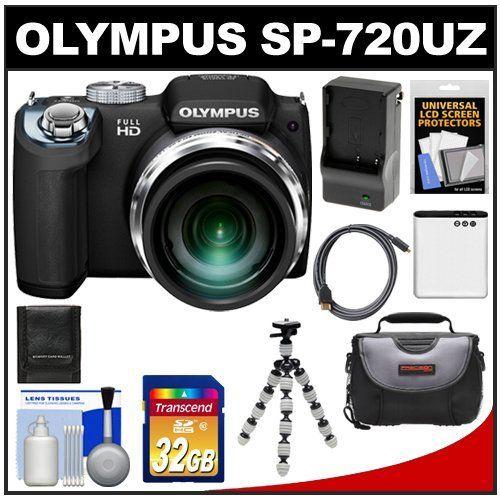Olympus Sp 720uz Digital Camera Black With 32gb Card Battery