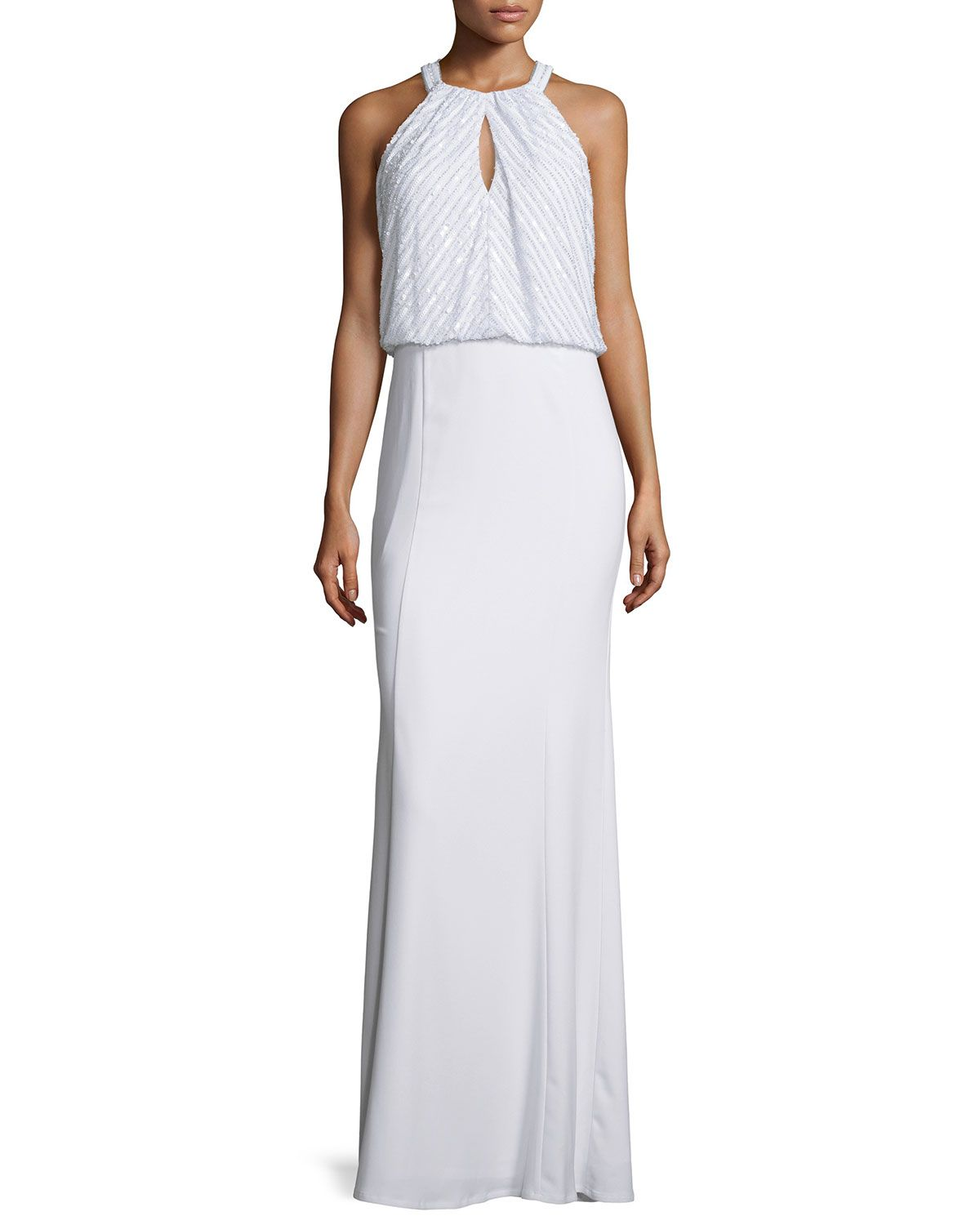 Embellished Bodice Crepe Gown, Optic White
