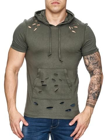F&S Men Ripped Holes Hoodie T-Shirt - Army Green