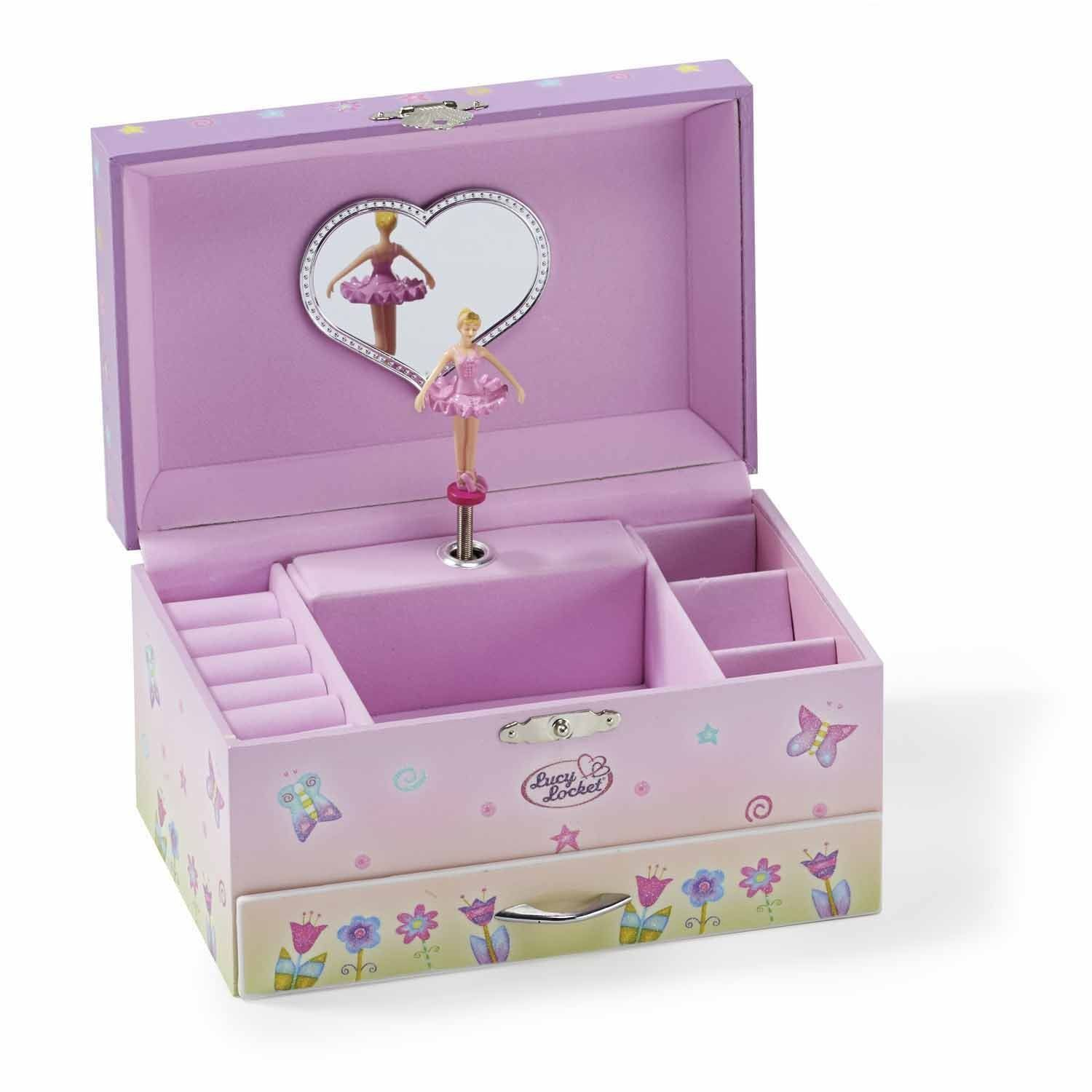 Pretty Jewelry Box Fairy Tale Kids Musical Jewelry Box  Pink Glittery Kids Music Box