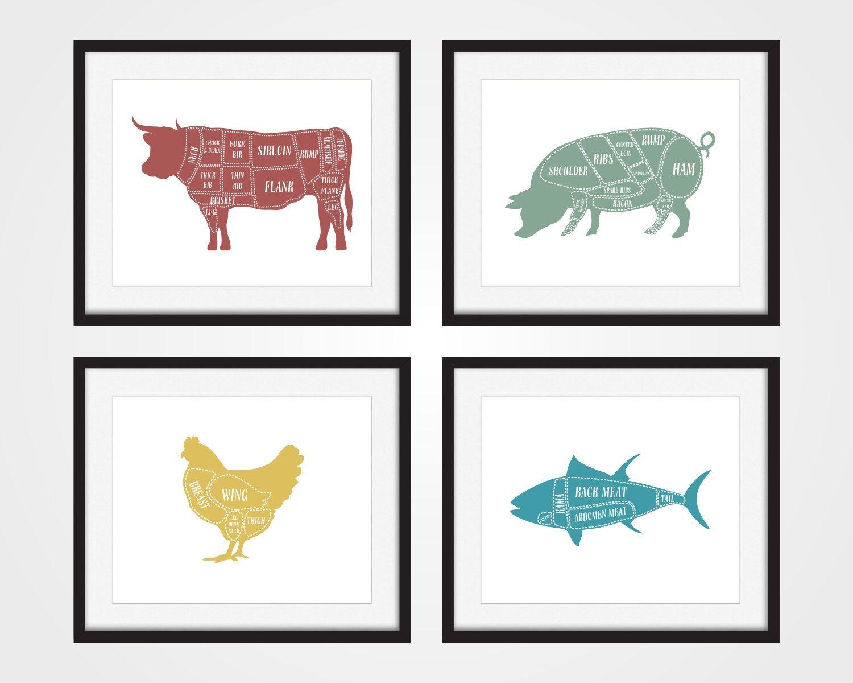 Butcher Chart, Cow, Pig, Chicken, Fish, Kitchen Art Print, Butcher ...