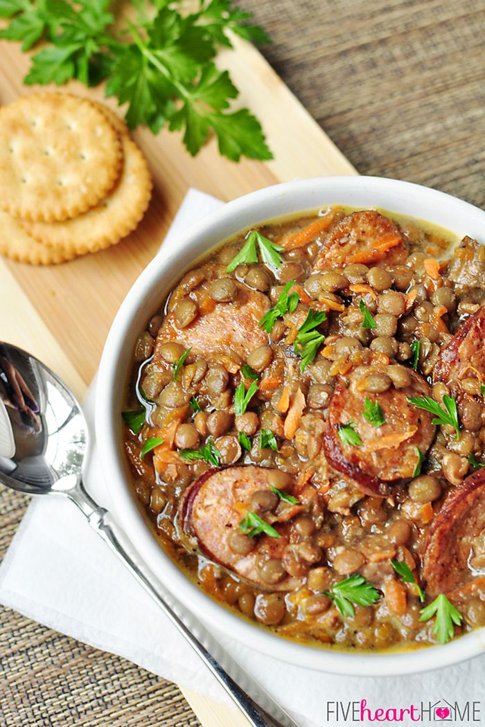 Slow Cooker German Lentil Soup with Sausage   {Five Heart Home}