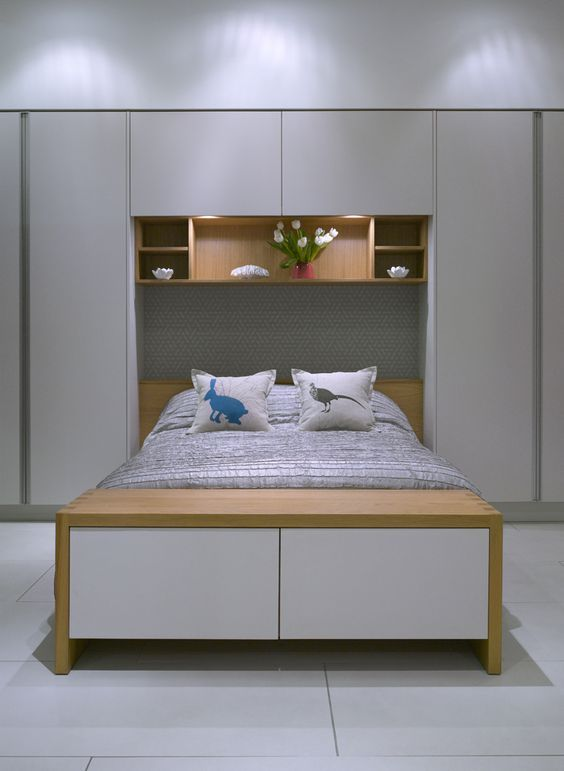 Space Saving Teens Bedroom Furniture: Space Saving Headboard Cabinets Idea For Bedroom