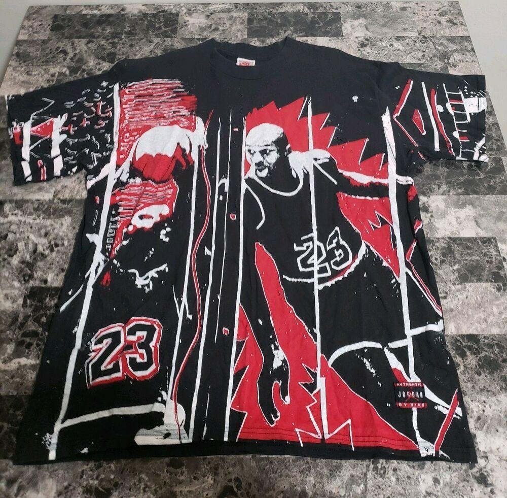 Vintage Nike Michael Jordan Shirt Large All Over Print T 90s Rare Michaeljordan
