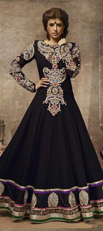 Black and Grey color family unstitched Anarkali Suits. Indian, Arabic, Muslim, Sri Lanka weddings.