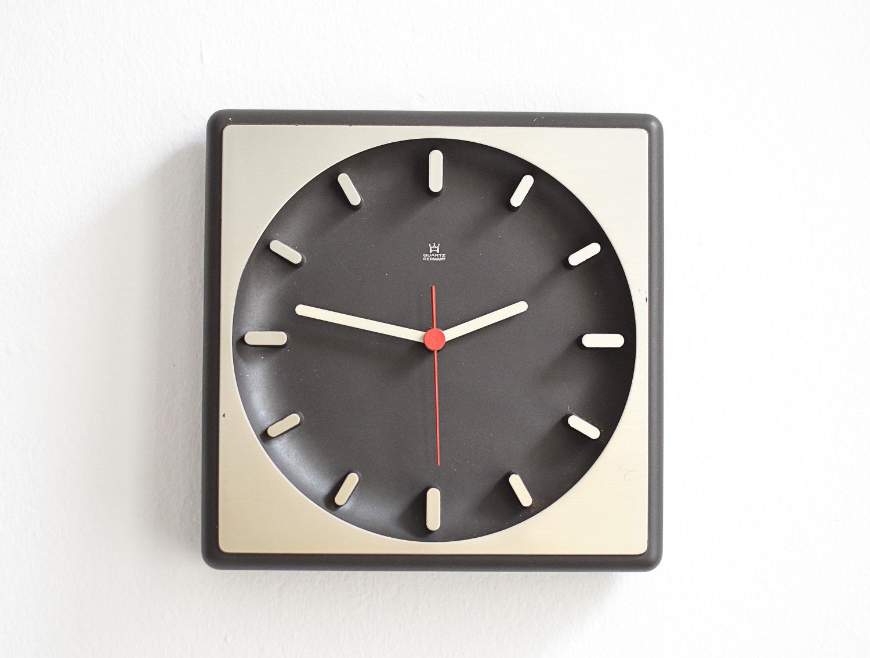 Modern clock black clock silver wall clock mid century clock vintage