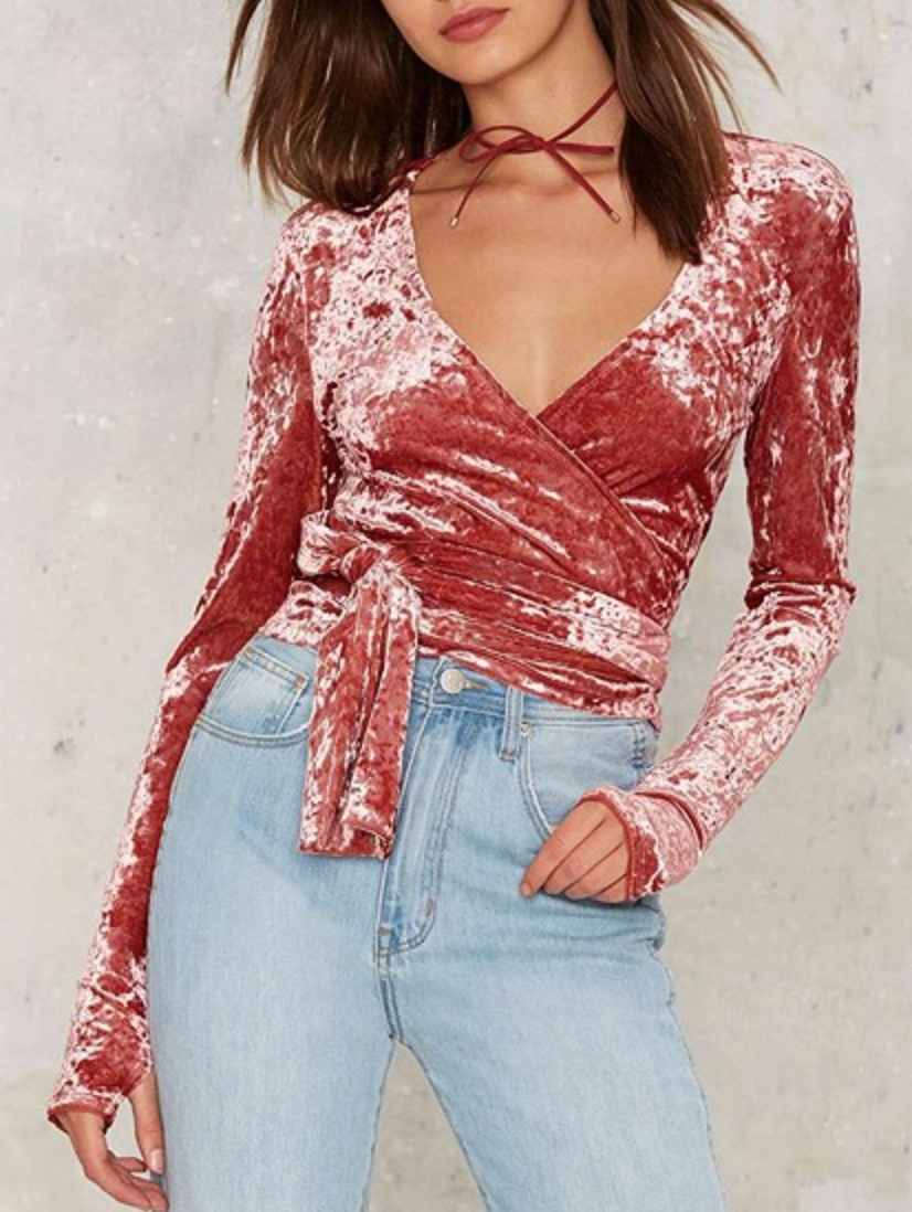 Paired with even more pink velvet, this look is sticky-sweet with a ...