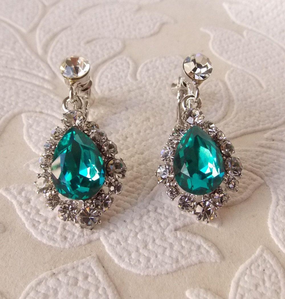 Teal Blue Vintage Style Clip On Chandelier Earrings