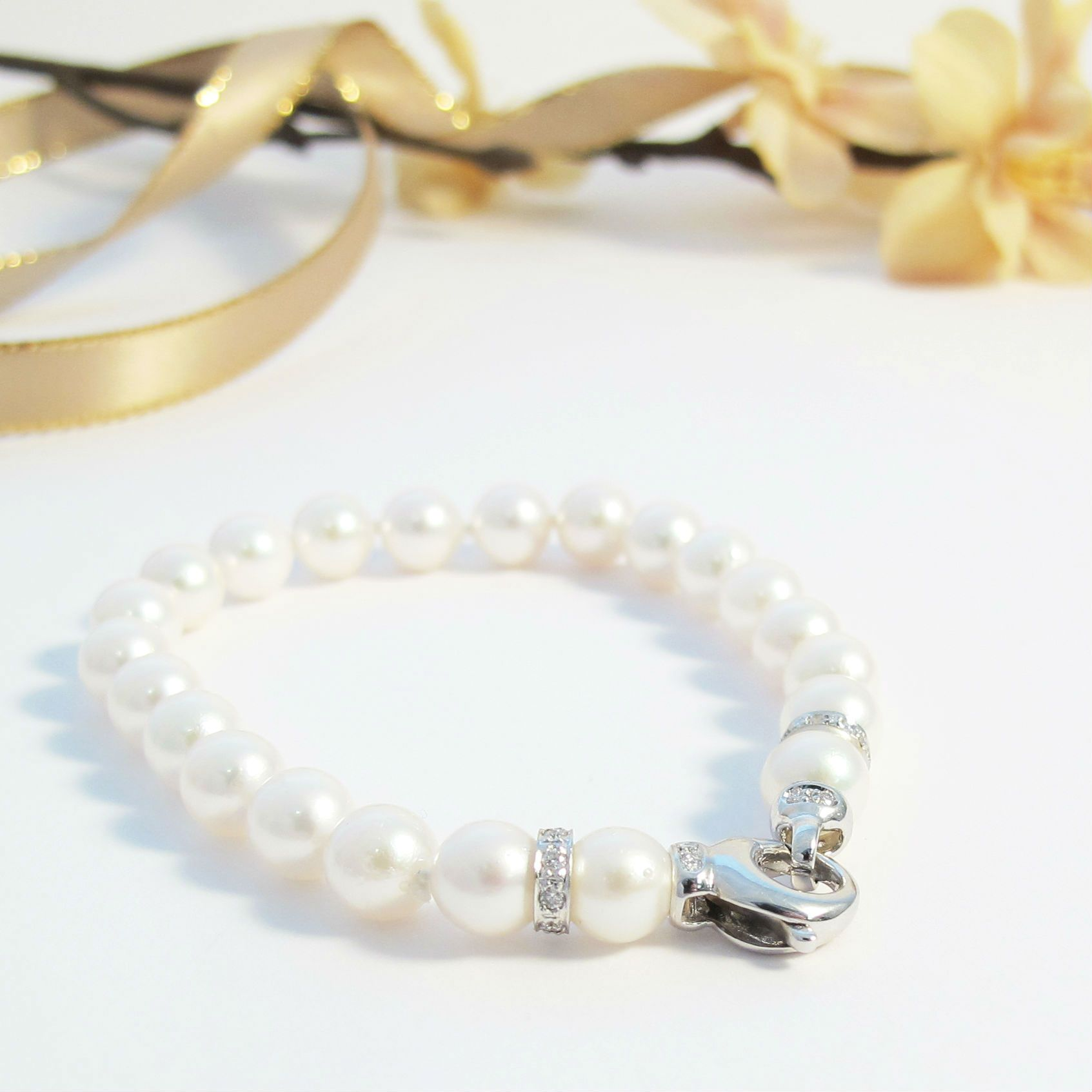 bracelet clasp women on faux size etsy by row pin something day pearl wedding jewelry fashion marlahomancollection small s double bride vintage old gift rhinestone