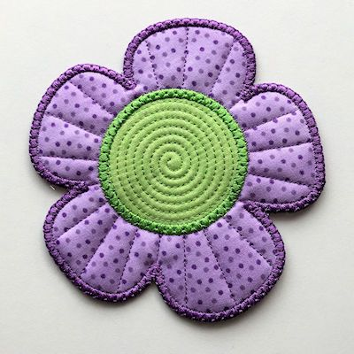 Free In the Hoop Flower Coaster   machine embroidery and applique ...