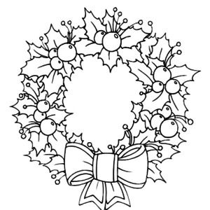 Light of candle shine on christmas wreaths coloring pages for Christmas wreath coloring pages