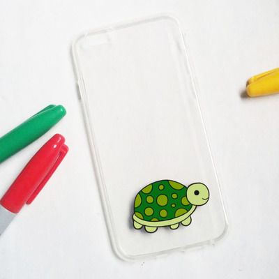 Hand painted turtle phone cases - iphone 6 case clear - iphone 6 case - iphone 6s case - iphone 5s case - samsung galaxy s7 case