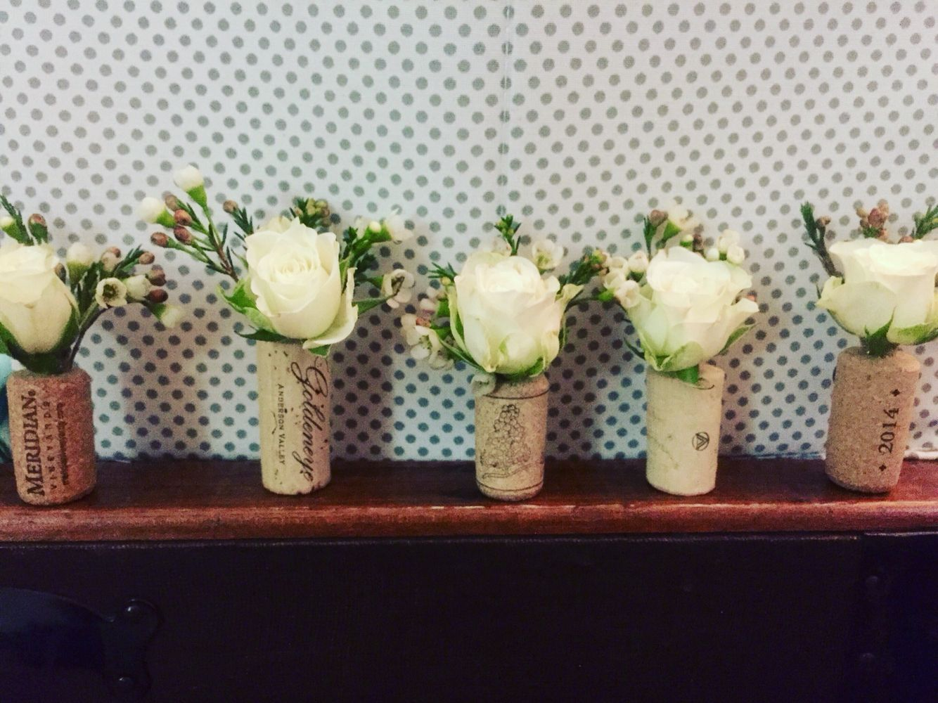 Wine Cork Boutineers and frest flowers