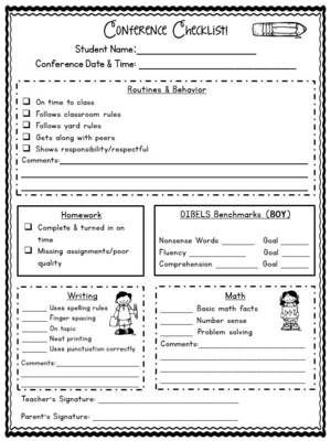 Parent-Teacher Conference Forms EDITABLE from Bright Concepts 4