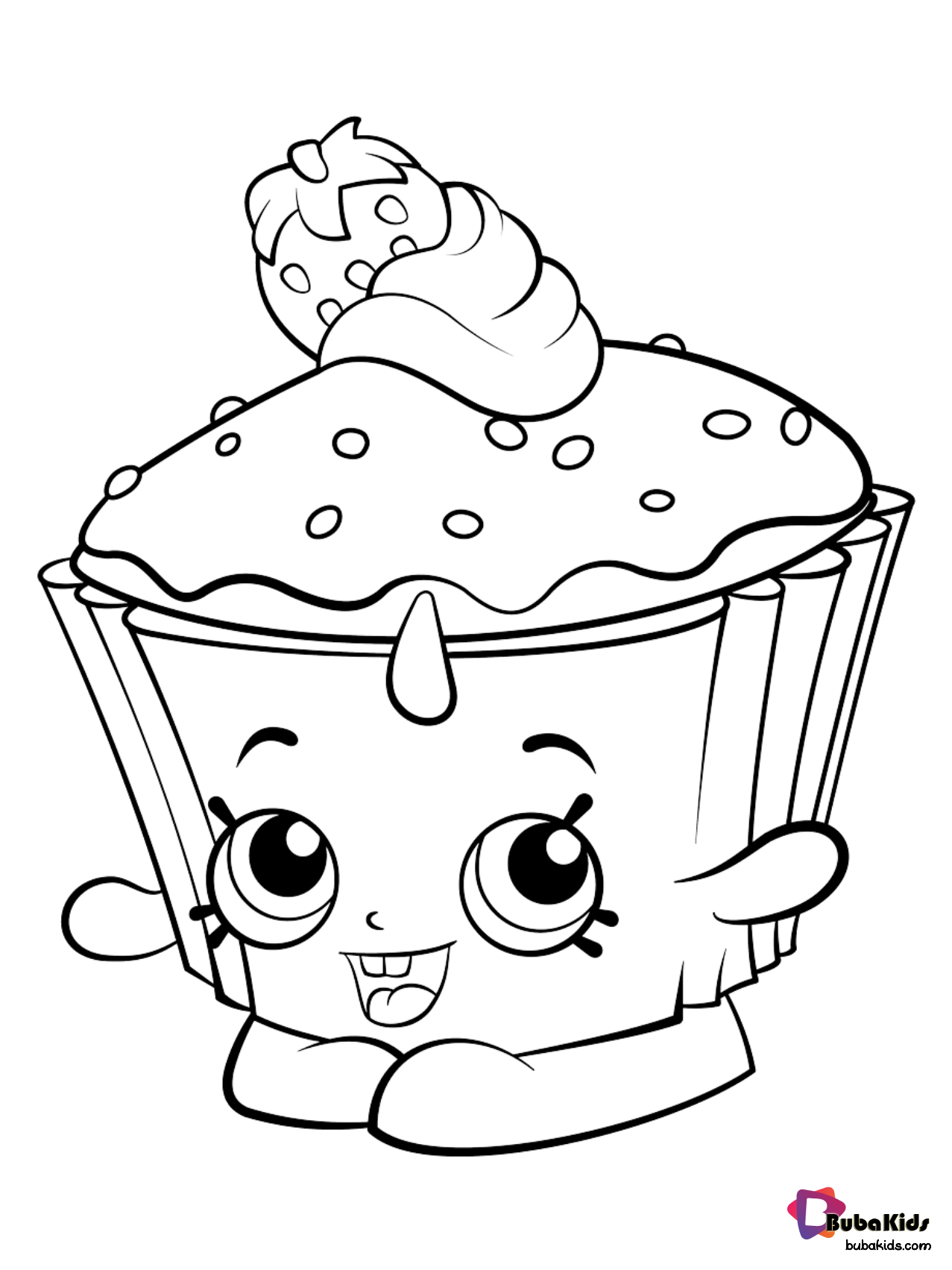 Free Download Strawberry Cup Cake Coloring Page For Preschoolers Collection Of Cartoon C Cupcake Coloring Pages Cartoon Coloring Pages Shopkin Coloring Pages