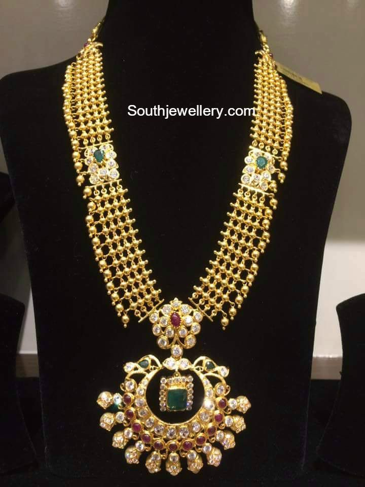 Antique Gold Long Chain with Pacchi Pendant   temple jewellery ...