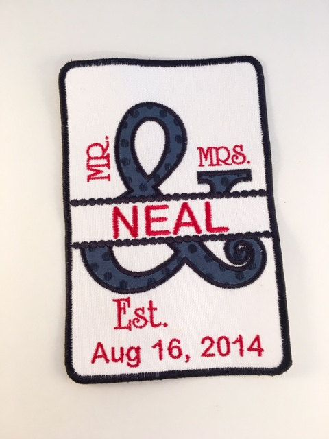 MR and MRS Ampersand - Embroidered Patch, Wedding Gift, Anniversary Gift, Wall Hanging, Quilt Patch, Pillow Patch, Personalized Patch
