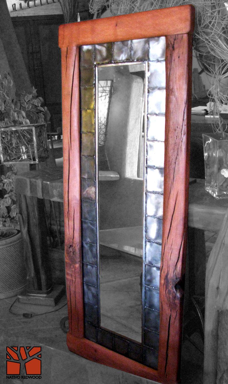 Nativo Redwood. Espejo con marco de Roble rústico con marco interior ...