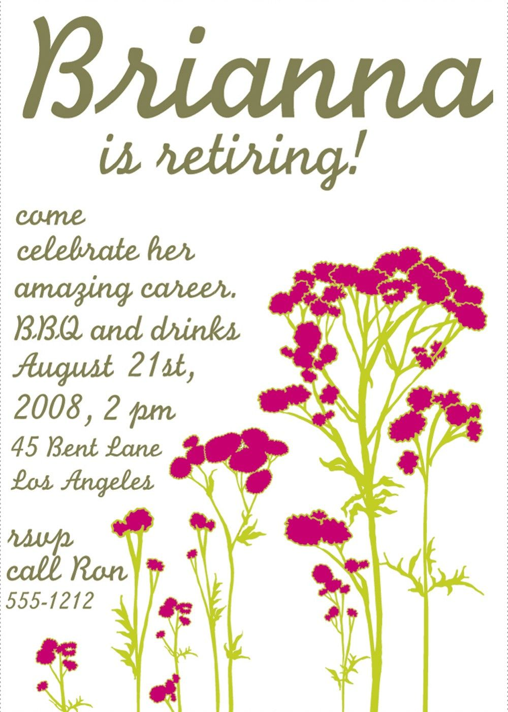 Free Printable Retirement Party Invitations Templates  BetsyS