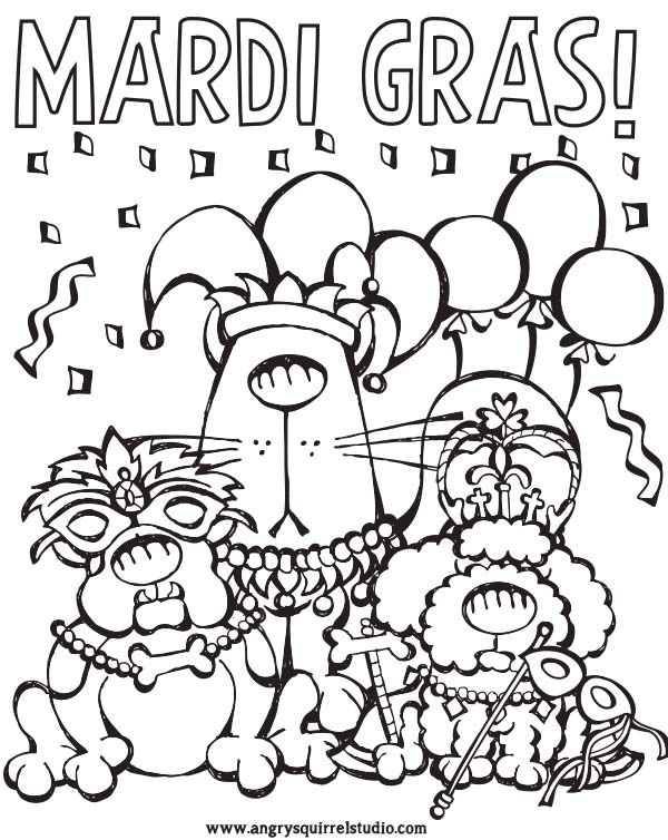 Celebrate MARDI GRAS With This FREE COLORING PAGE From Angry Squirrel Studio