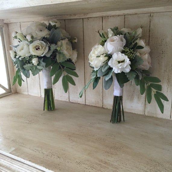 Tres Chic Brides Bouquet/White bridal bouquet/White green/grey bridal bouquet/White rose bouquet/Dusty miller bouquet/Lambs ears bouquet #whitebridalbouquets