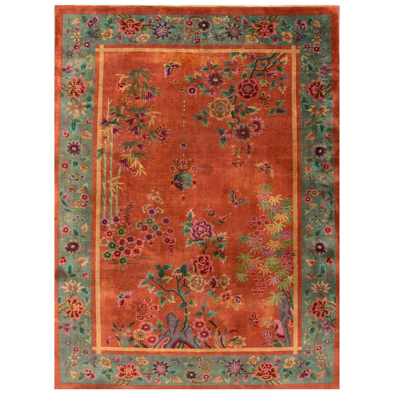 Vintage Distressed Orange And Teal Chinese Art Deco Carpet 10x13 05 Chinese Art Art Deco Art